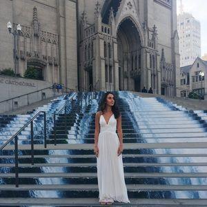 Beautiful White Deep V Prom Dress